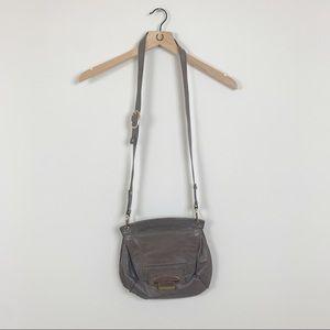Kooba Gray Leather Buckle Crossbody Saddle Bag